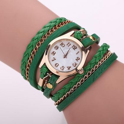 Green Fashion Casual Wrist Watch Le..