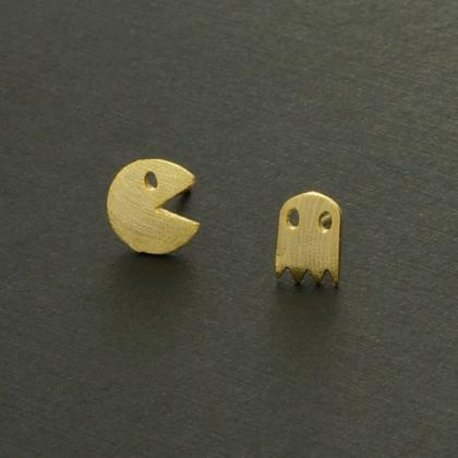 Pacman and Ghost Stud earrings, Arc..