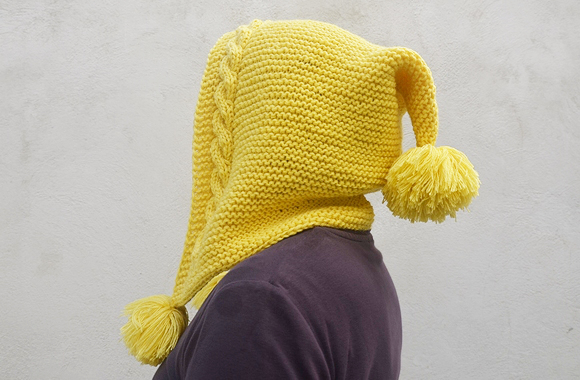 Pixie Hat In Yellow With Pom Pom eb96f935776