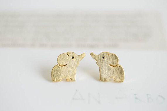 Elephant Jewelry Earrings Cute Stud Gold Earring Animal Women Bridesmaid Studs E13