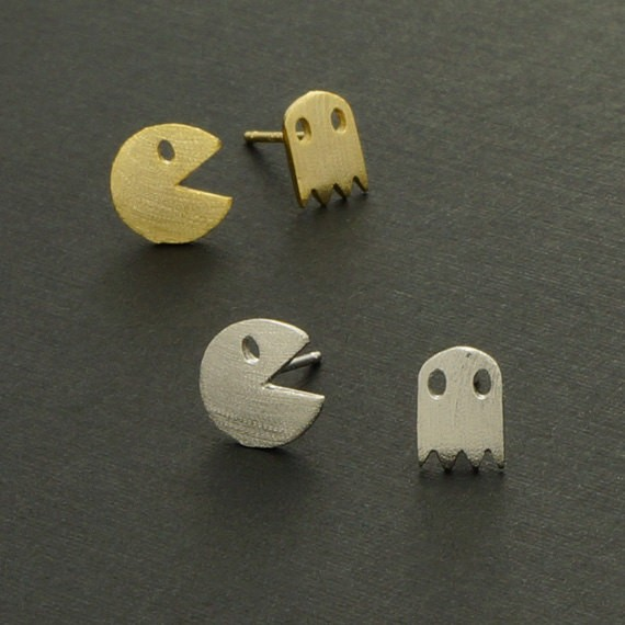 Pacman and Ghost Stud earrings, Arcade Game Inspired Jewelry, Gamer Gift