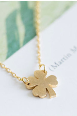 FREE SHIPPING Four-Leaf Clover Necklace, Lucky Irish necklace, Gold Shamrock Necklace (18K Gold Plated, Silver Plated,Rose Gold Plated) N1