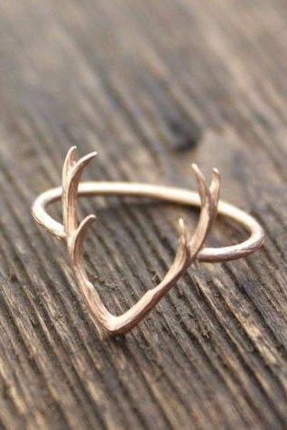 Deer Antler Ring Animal Jewelry Silver Gold Rose Gold Antler Ring (R21)