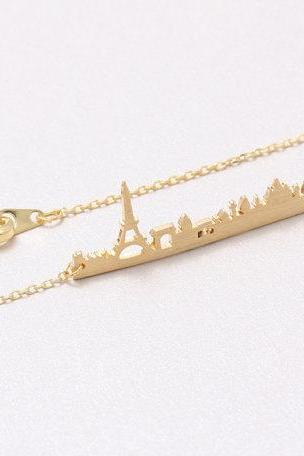 Paris Land Scraper Necklace, Paris Skyscraper Necklace, Eiffel Tower Necklace, France Jewelry Cityscape Necklace N10