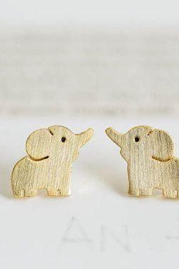 Elephant Jewelry Earrings, Cute Elephant Stud Earrings, Gold Elephant Earring, Animal Earring, Women Earrings, Bridesmaid Earring Studs(E13)