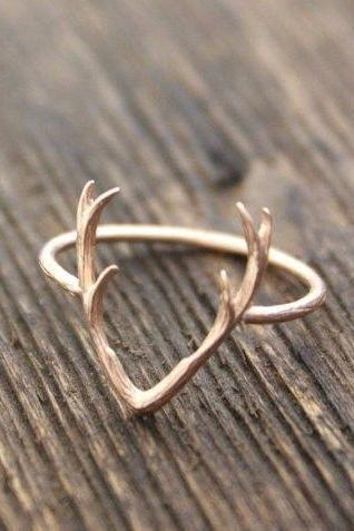 Antler Deer Ring, Woodland Jewelry / choose your color