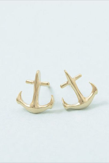 Anchor Earrings, Nautical Jewelry, Navy Studs