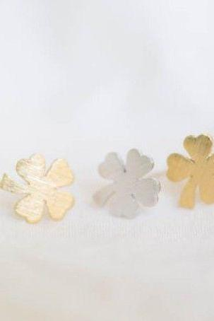 Four Leaf Clover Stud Earrings, Leaf Jewelry, Good Luck