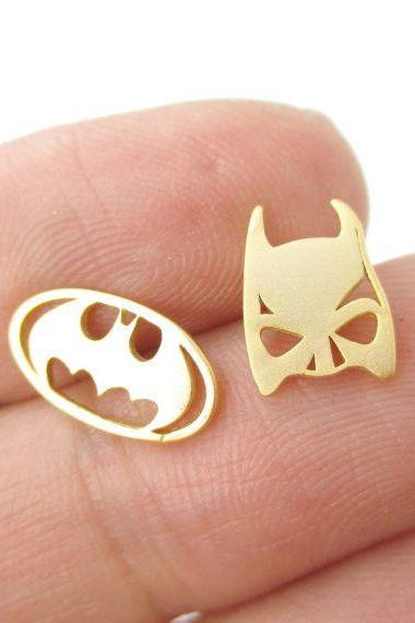 Batman Logo Earrings, Superhero Jewelry, Comics