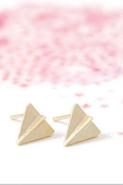 Paper Plane Earrings, Origami Studs, Famous Fashion