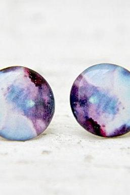 Galaxy Earrings, Nebula Jewlry, Moon Earrings