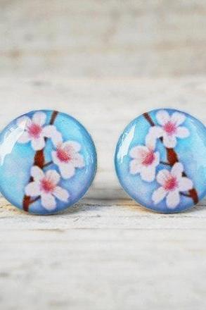 Cherry Blossom Earrings, Flower Earrings, Nature Jewelry, Gift for Sister, BFF Gifts (E103)