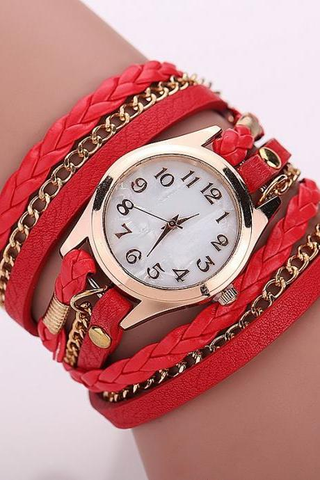 Red Fashion Casual Wrist Watch Leather Bracelet Women Watches Relogio Feminino BW1071