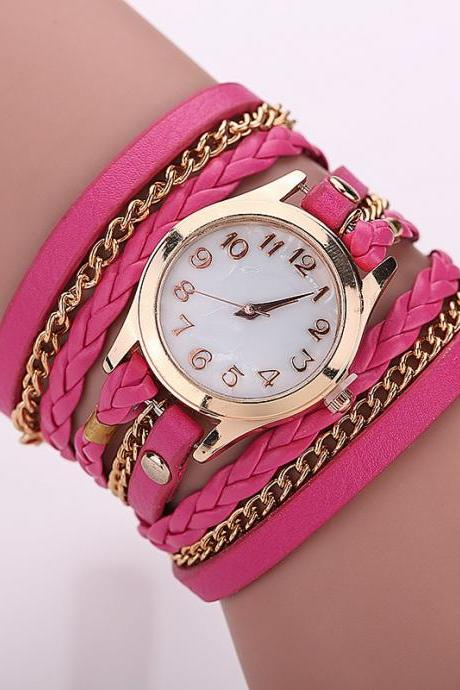 Fucsia Fashion Casual Wrist Watch Leather Bracelet Women Watches Relogio Feminino BW1071