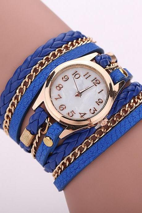Blue Fashion Casual Wrist Watch Leather Bracelet Women Watches Relogio Feminino BW1071