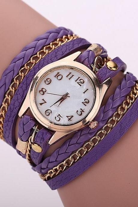 Purple Fashion Casual Wrist Watch Leather Bracelet Women Watches Relogio Feminino BW1071