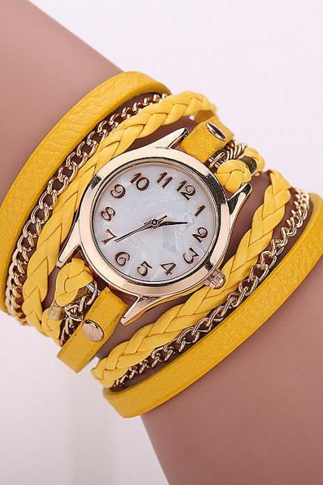 Yellow Fashion Casual Wrist Watch Leather Bracelet Women Watches Relogio Feminino BW1071