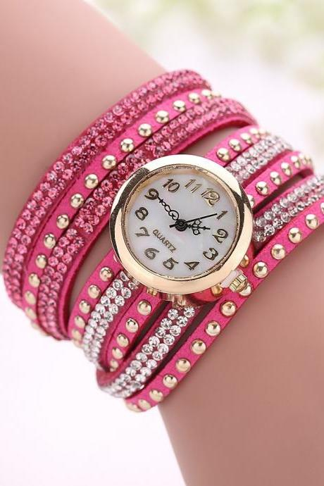 Fashion Rivet Crystal Leather Bracelet Women Wrist Watch Valentine Gift Fucsia