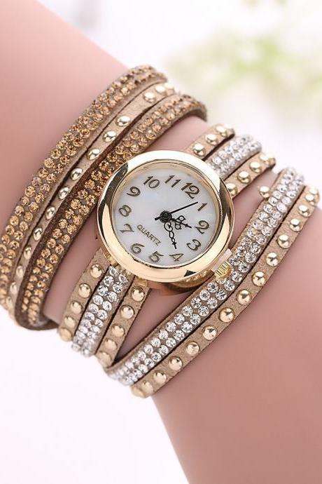 Fashion Rivet Crystal Leather Bracelet Women Wrist Watch Valentine Gift Chocolate Brown