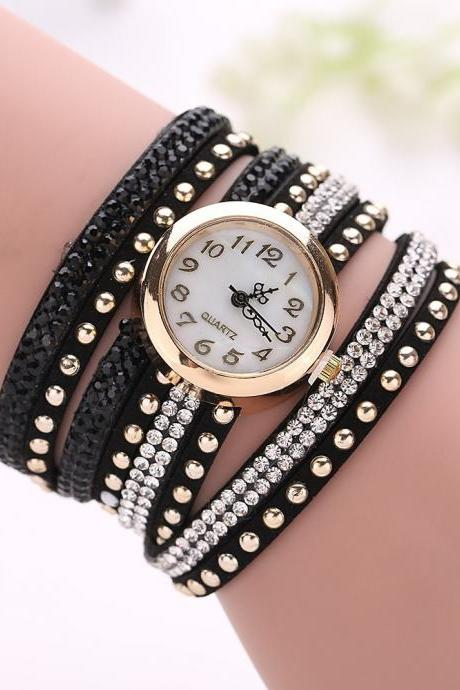 Fashion Rivet Crystal Leather Bracelet Women Wrist Watch Valentine Gift Black