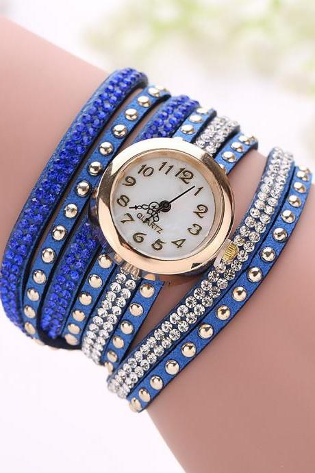 Fashion Rivet Crystal Leather Bracelet Women Wrist Watch Valentine Gift Blue