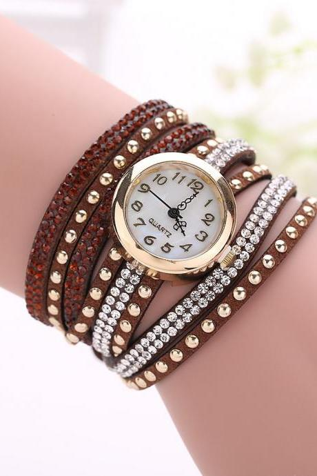Fashion Rivet Crystal Leather Bracelet Women Wrist Watch Valentine Gift, brown