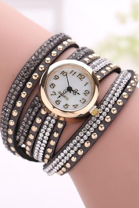 Fashion Rivet Crystal Leather Bracelet Women Wrist Watch Valentine Gift, dark grey