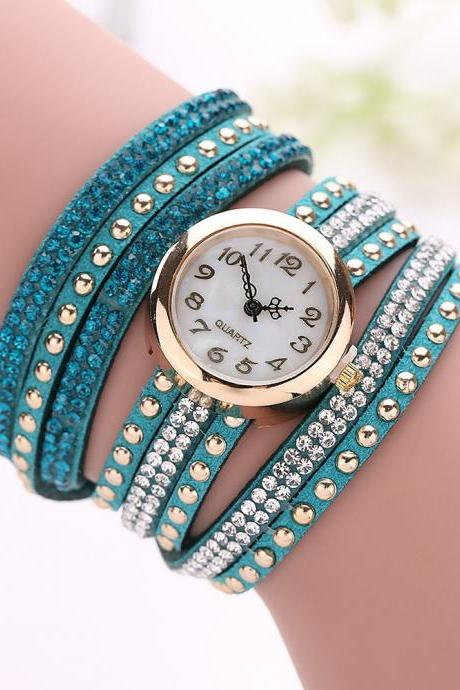 Fashion Rivet Crystal Leather Bracelet Women Wrist Watch Valentine Gift, teal