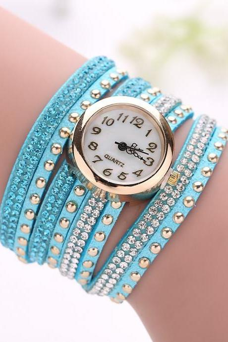 Fashion Rivet Crystal Leather Bracelet Women Wrist Watch Valentine Gift, turquoise