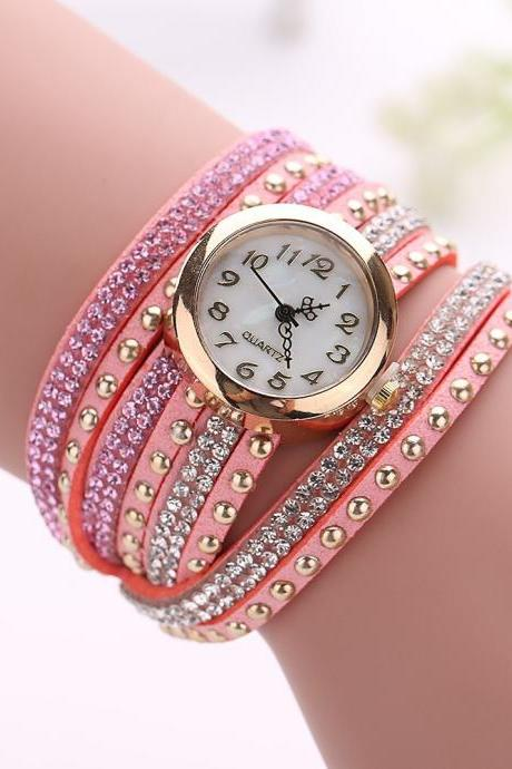 Fashion Rivet Crystal Leather Bracelet Women Wrist Watch Valentine Gift, pink