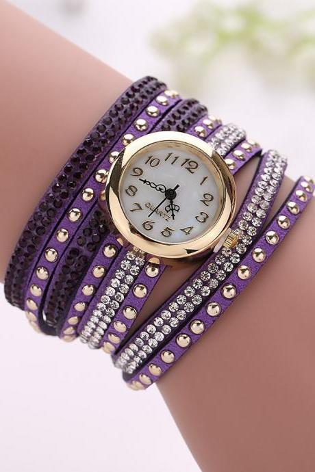 Fashion Rivet Crystal Leather Bracelet Women Wrist Watch Valentine Gift, purple