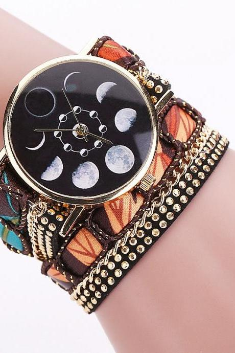 Fashion Casual Relogio Feminino Moon Phase Astronomy Space Fabric Strap Women Quartz Wrist Watch Gift