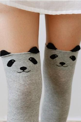 Lady Girls Favorite Cute 3D Cartoon Animal Cat Bear Face Thigh Stockings Funky Over Knee High Socks