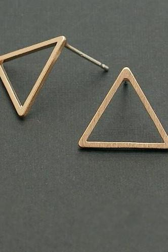 Triangle earrings, Open Triangle Studs, Geometric Jewelry, Gold, Rose Gold, Silver