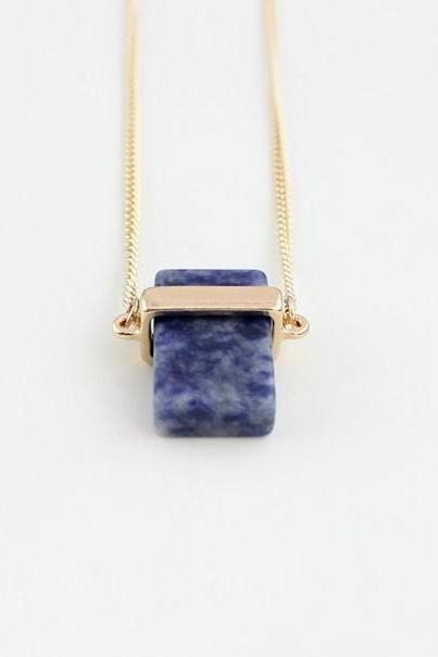 Square Necklace, Geometric necklace, Blue Stone Necklace, Long Necklace, Sweet Gift