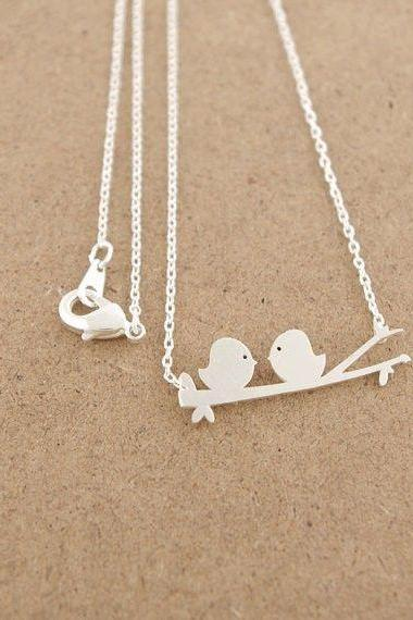 Bird necklace, Silver Gold, Love Birds on Brunch, Nature Jewelry, Best Fried Gift