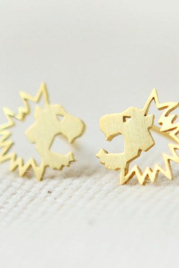 Roaring Lion head Studs Earring, Animal Jewelry, Gift for Her