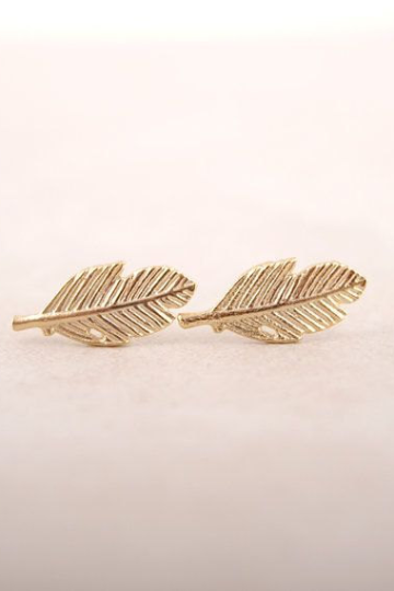 Leaf Feather Earring Studs, Feather Jewelry, Silver Earrings, Leaf Earring, Silver Gold