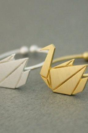 Origami Crane Rings, Adjustable Rings, Silver, Gold, Wish Ring, Midi Ring