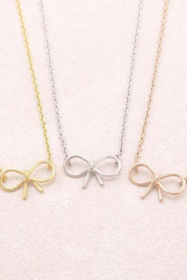 Tie-the-knot Necklace, Bow necklace, Be My Bridesmaid, Bridesmaid Necklace, Proposal, Bow Necklace, Wedding Jewelry, Wedding Ideas Gifts