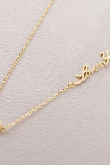 I love you Gold necklace with small heart, Love, Silver Gold
