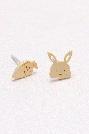 Bunny and Carrot Earrings Silver, Gold, Rose Gold