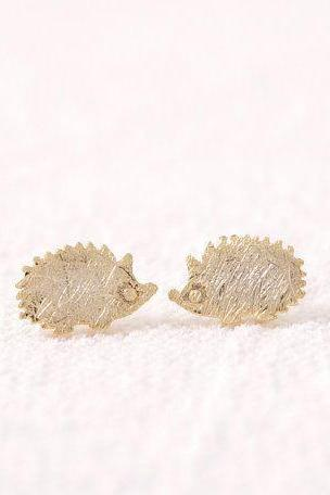 Hedgehog Earrings, Animal Stud Earrings, Woodland Jewelry, Silver, Gold, Rose Gold