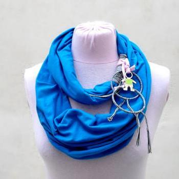 Blue Infinity Scarf, Spring Summer Fashion, Circle Scarf Loop